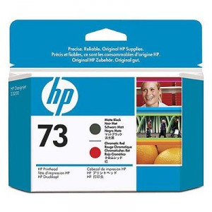 Tete d'impression HP Designjet 73 noir mat et rouge chromatique