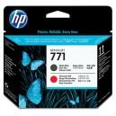 Tete d'impression HP Designjet 771 noir mat et rouge chromatique
